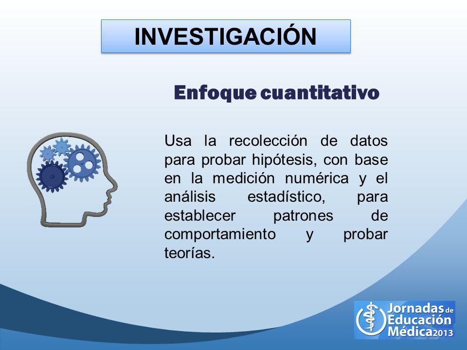 INVESTIGACIÓN Enfoque cuantitativo Usa la recolección de datos para probar hipótesis, con base en la medición numérica y el análisis estadístico, para