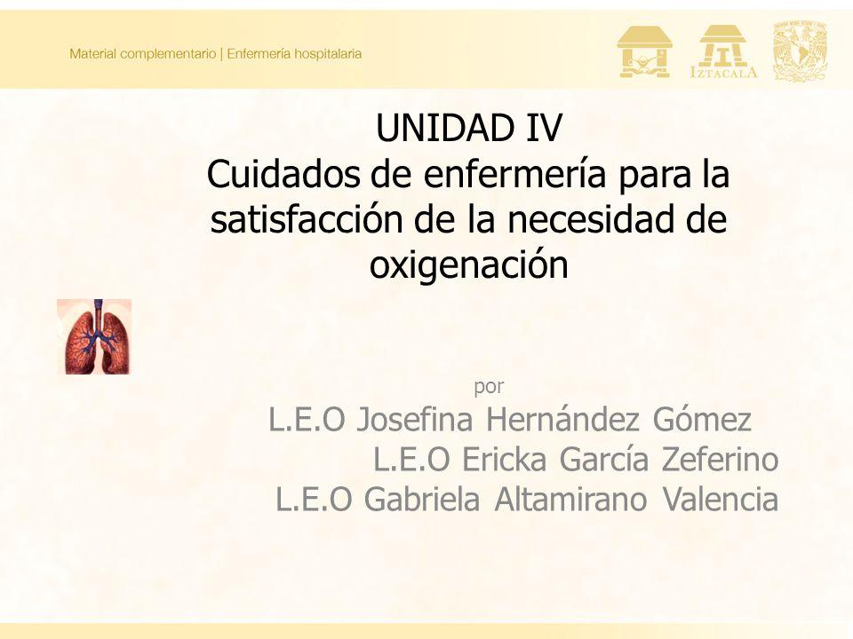 UNIDAD IV Cuidados de enfermería para la satisfacción de la necesidad de oxigenación por L.E.O Josefina Hernández Gómez L.E.O Ericka García Zeferino L.E.O Gabriela Altamirano Valencia