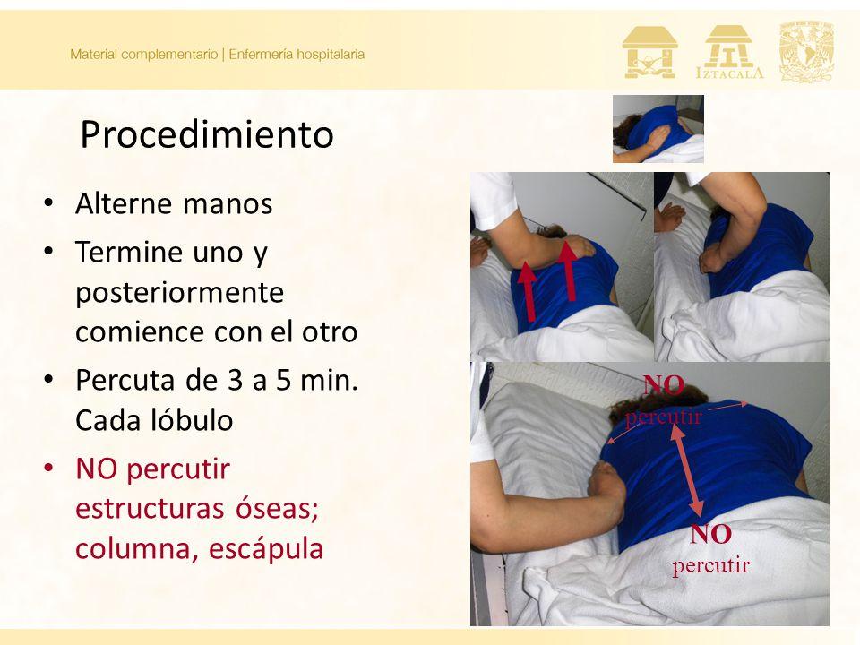 Procedimiento Alterne manos Termine uno y posteriormente comience con el otro Percuta de 3 a 5 min. Cada lóbulo NO percutir estructuras óseas; columna