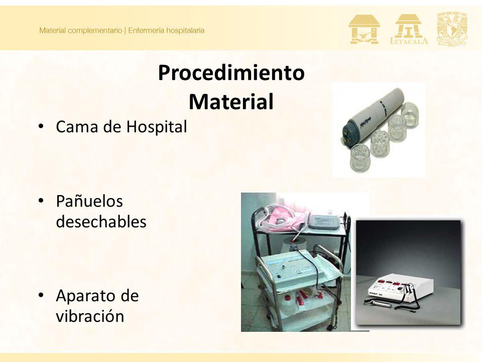 Procedimiento Material Cama de Hospital Pañuelos desechables Aparato de vibración