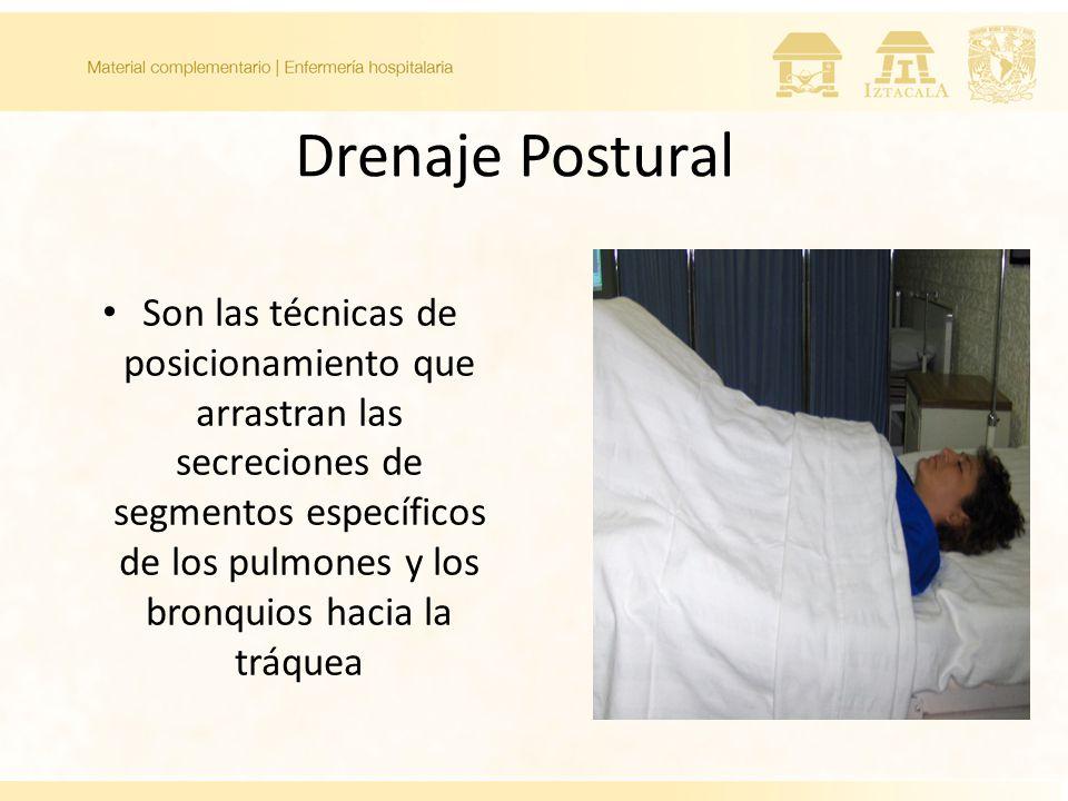 Drenaje Postural Son las técnicas de posicionamiento que arrastran las secreciones de segmentos específicos de los pulmones y los bronquios hacia la tráquea