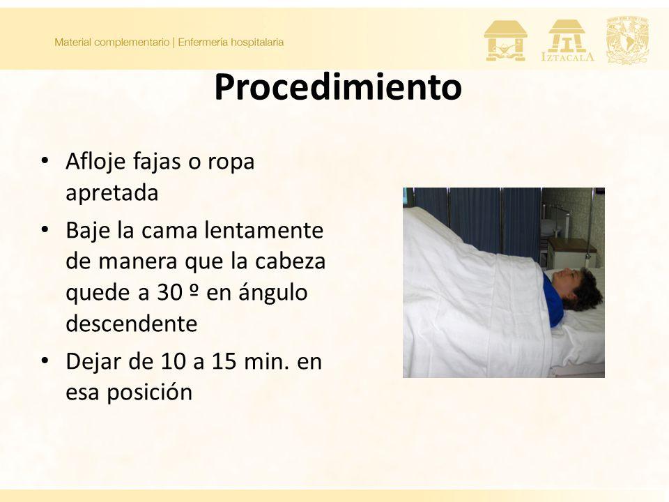Procedimiento Afloje fajas o ropa apretada Baje la cama lentamente de manera que la cabeza quede a 30 º en ángulo descendente Dejar de 10 a 15 min. en