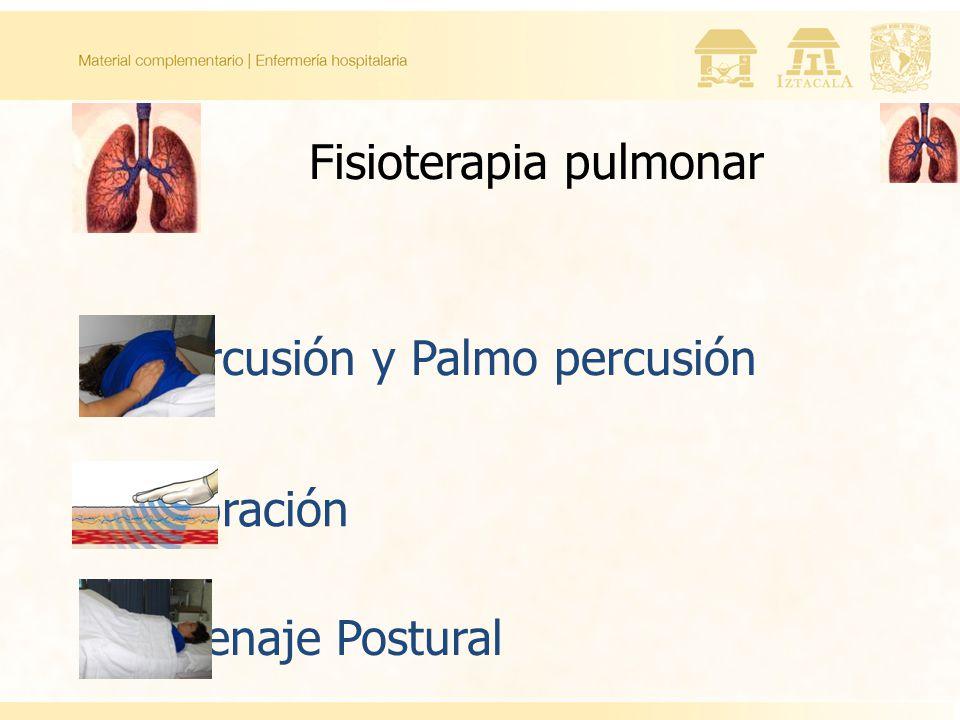 Fisioterapia pulmonar Percusión y Palmo percusión Vibración Drenaje Postural
