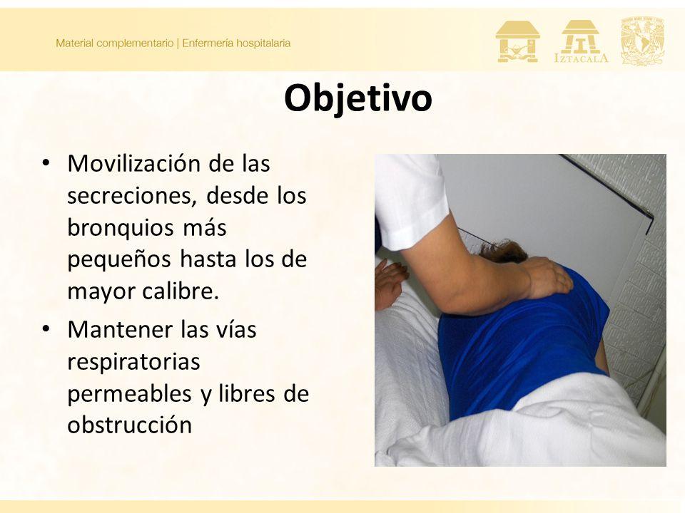 Objetivo Movilización de las secreciones, desde los bronquios más pequeños hasta los de mayor calibre. Mantener las vías respiratorias permeables y li