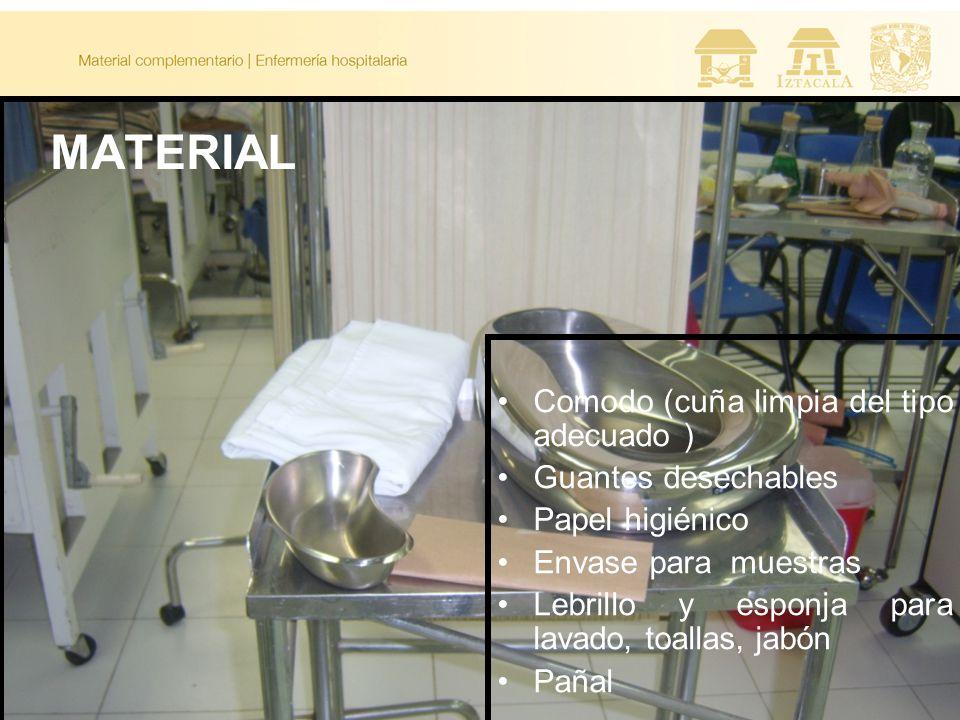 MATERIAL Comodo (cuña limpia del tipo adecuado ) Guantes desechables Papel higiénico Envase para muestras Lebrillo y esponja para lavado, toallas, jab