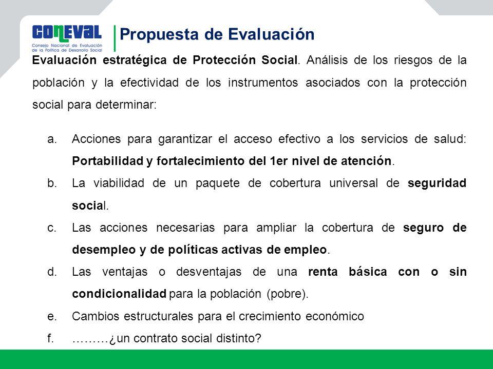 Propuesta de Evaluación Evaluación estratégica de Protección Social. Análisis de los riesgos de la población y la efectividad de los instrumentos asoc