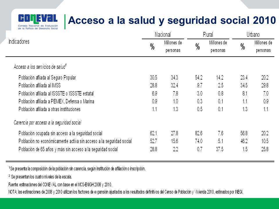Acceso a la salud y seguridad social 2010