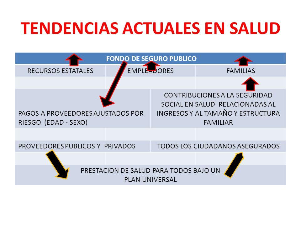 TENDENCIAS ACTUALES EN SALUD FONDO DE SEGURO PUBLICO RECURSOS ESTATALESEMPLEADORESFAMILIAS PAGOS A PROVEEDORES AJUSTADOS POR RIESGO (EDAD - SEXO) CONT