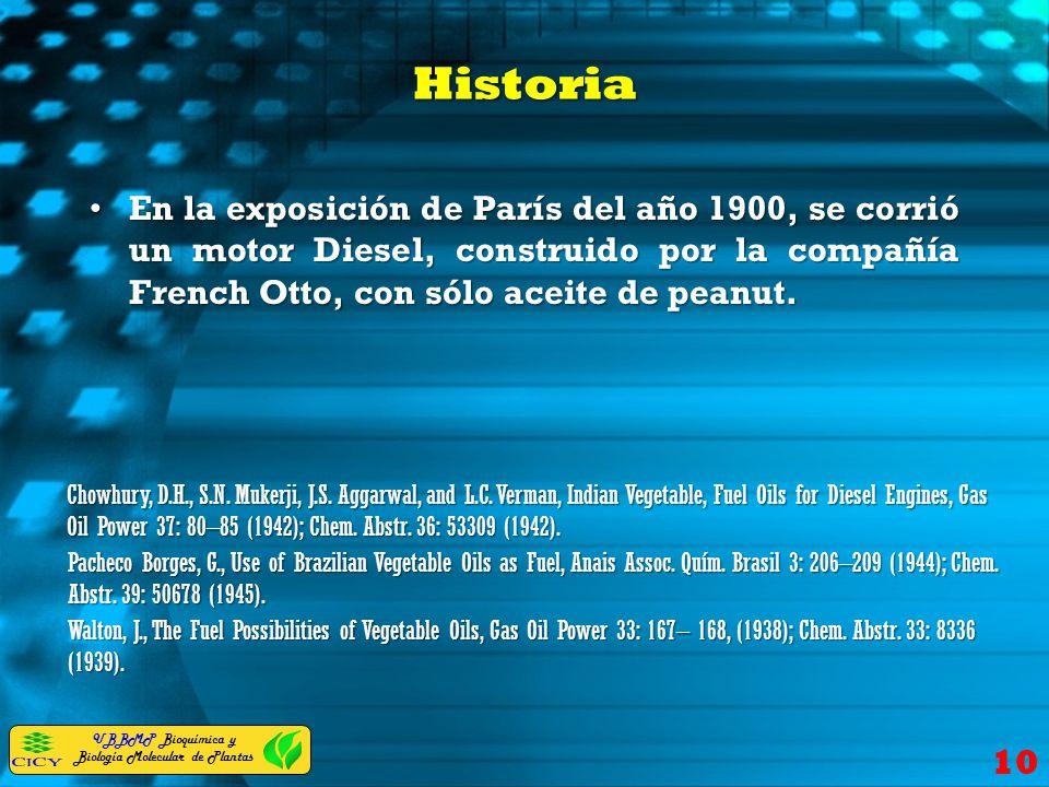 UBBMP Bioquímica y Biología Molecular de Plantas Historia En la exposición de París del año 1900, se corrió un motor Diesel, construido por la compañí
