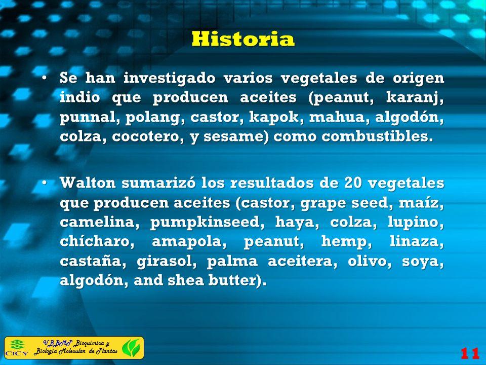 UBBMP Bioquímica y Biología Molecular de Plantas Historia Se han investigado varios vegetales de origen indio que producen aceites (peanut, karanj, pu
