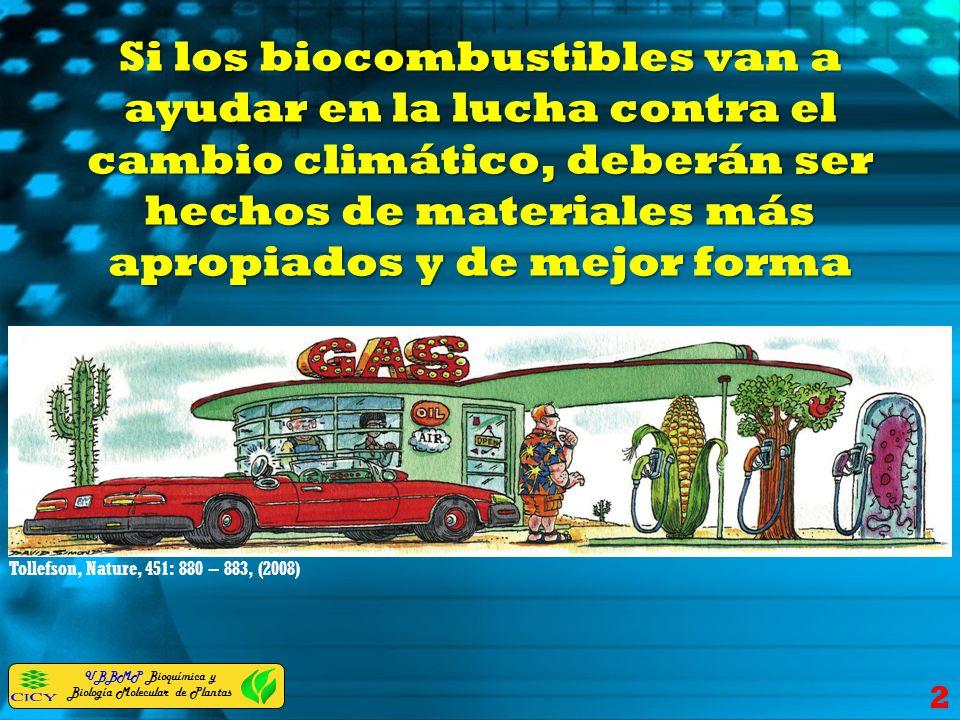 UBBMP Bioquímica y Biología Molecular de Plantas Si los biocombustibles van a ayudar en la lucha contra el cambio climático, deberán ser hechos de mat
