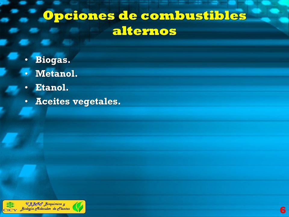 Opciones de combustibles alternos Biogas.Biogas. Metanol.Metanol. Etanol.Etanol. Aceites vegetales.Aceites vegetales. 6