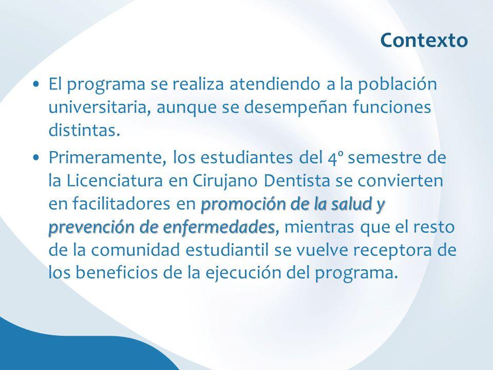 Contexto El programa se realiza atendiendo a la población universitaria, aunque se desempeñan funciones distintas. promoción de la salud y prevención