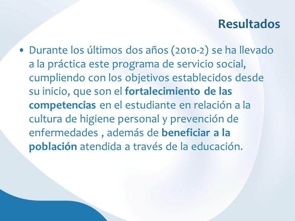 Resultados Durante los últimos dos años (2010-2) se ha llevado a la práctica este programa de servicio social, cumpliendo con los objetivos establecid