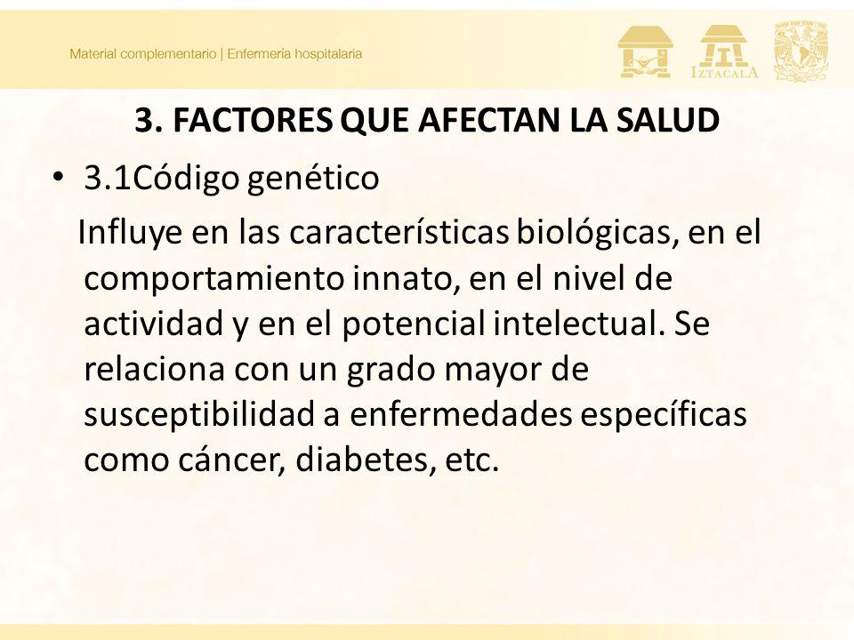 3. Factores que afectan la salud 3.1 Código Genético 3.2 Raza 3.3 Sexo 3.4 Edad y estadios de desarrollo 3.5 Interrelación entre estados físicos y psi