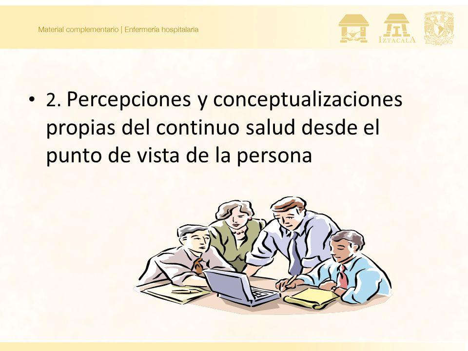 2. Percepciones y conceptualizaciones propias del continuo salud desde el punto de vista de la persona 2.1 Salud 2.2. Bienestar 2.3 Malestar 2.4 Enfer