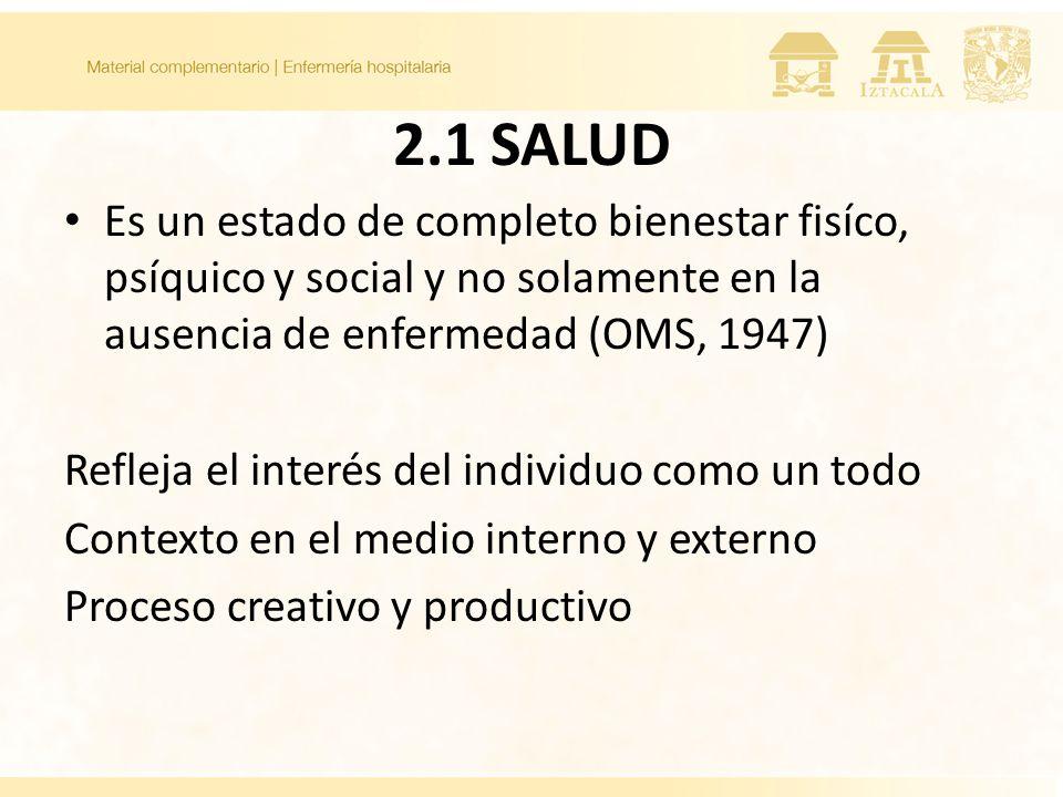 2.1 SALUD Es un estado de completo bienestar fisíco, psíquico y social y no solamente en la ausencia de enfermedad (OMS, 1947) Refleja el interés del individuo como un todo Contexto en el medio interno y externo Proceso creativo y productivo