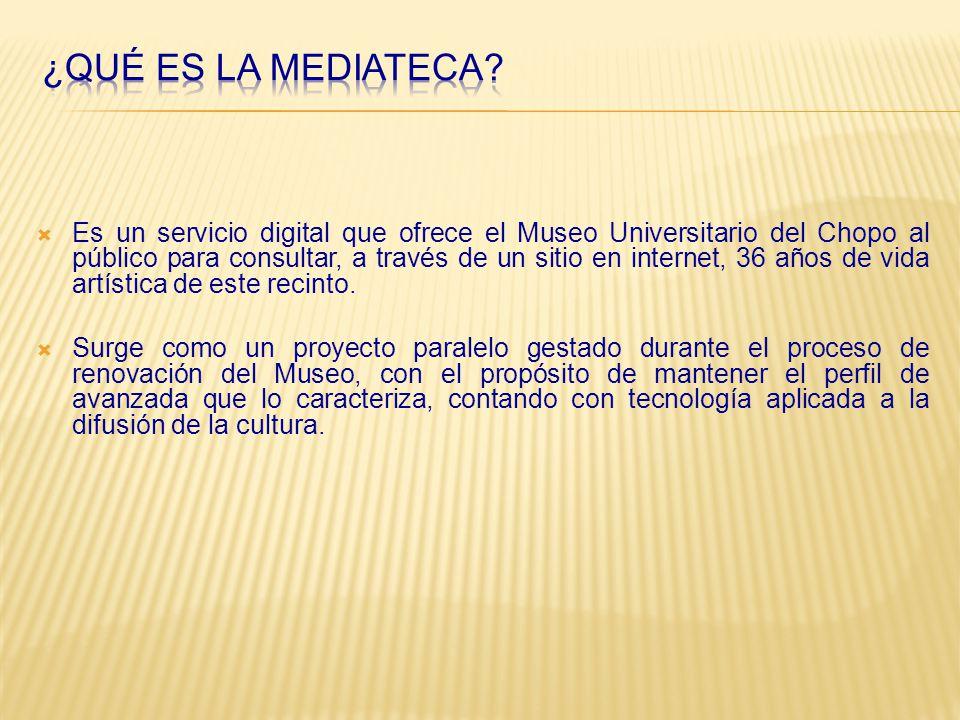 Es un servicio digital que ofrece el Museo Universitario del Chopo al público para consultar, a través de un sitio en internet, 36 años de vida artística de este recinto.