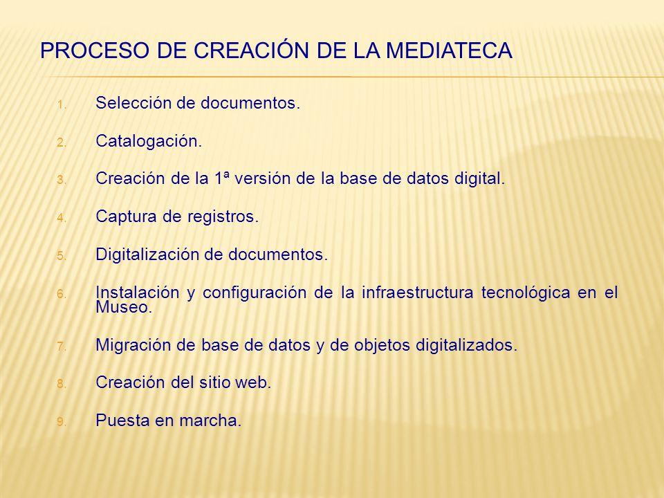 1. Selección de documentos. 2. Catalogación. 3.