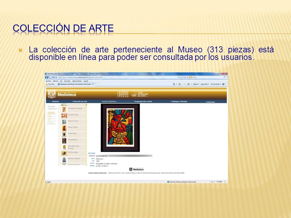 La colección de arte perteneciente al Museo (313 piezas) está disponible en línea para poder ser consultada por los usuarios.