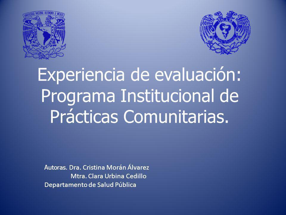 Introducción Durante el periodo de 2004 al 2009, la Facultad de Medicina de la UNAM, llevo a cabo el Programa Institucional de Prácticas Comunitarias, (PIPC) Durante el periodo de 2004 al 2009, la Facultad de Medicina de la UNAM, llevo a cabo el Programa Institucional de Prácticas Comunitarias, (PIPC) El proyecto incluyó la evaluación integral del: Programa académico, aprendizaje y los resultados.