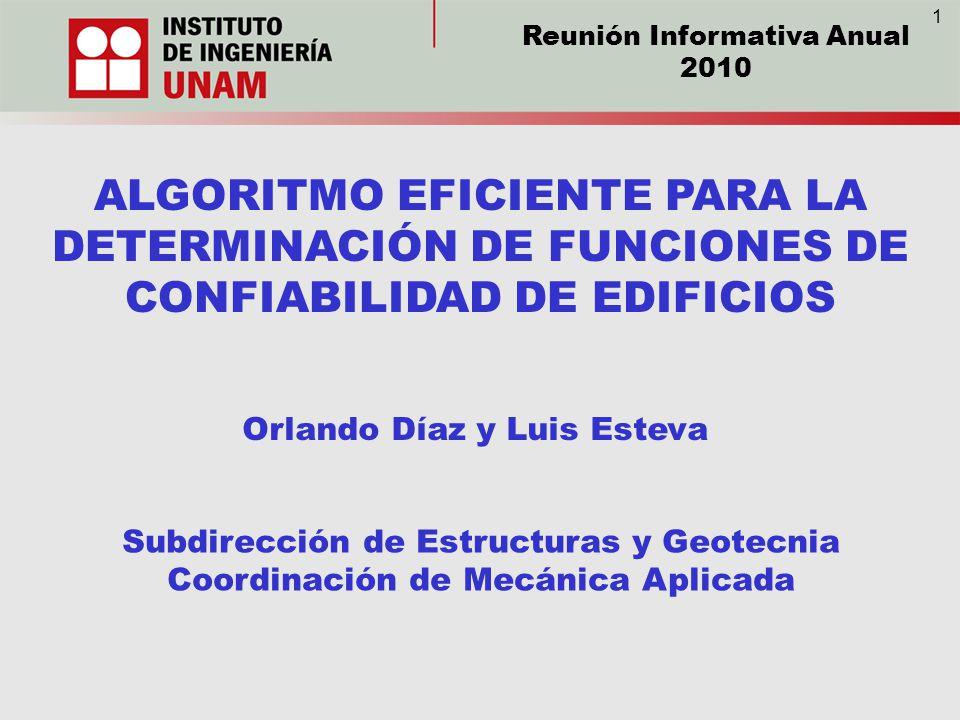 ALGORITMO EFICIENTE PARA LA DETERMINACIÓN DE FUNCIONES DE CONFIABILIDAD DE EDIFICIOS Orlando Díaz y Luis Esteva Subdirección de Estructuras y Geotecni
