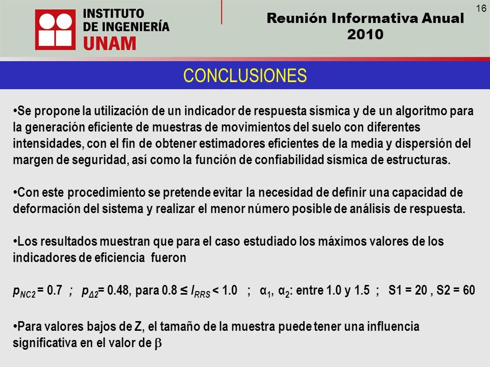 Reunión Informativa Anual 2010 CONCLUSIONES Se propone la utilización de un indicador de respuesta sísmica y de un algoritmo para la generación eficie