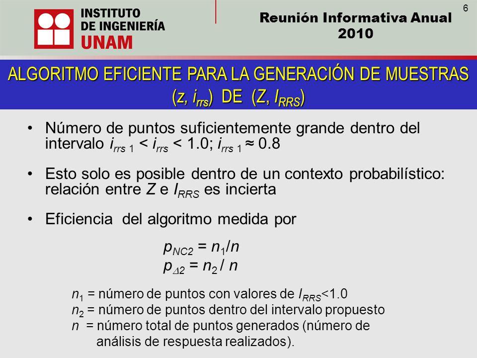 Reunión Informativa Anual 2010 ALGORITMO EFICIENTE PARA LA GENERACIÓN DE MUESTRAS ( z, i rrs ) DE ( Z, I RRS ) Número de puntos suficientemente grande