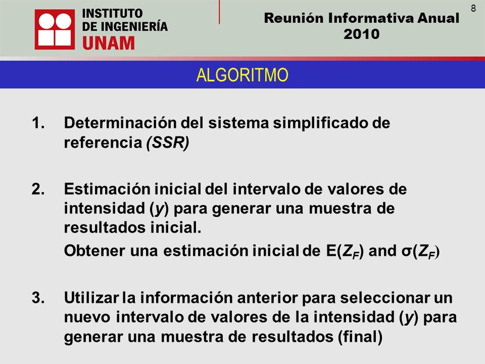 Reunión Informativa Anual 2010 ALGORITMO 1.Determinación del sistema simplificado de referencia (SSR) 2.Estimación inicial del intervalo de valores de