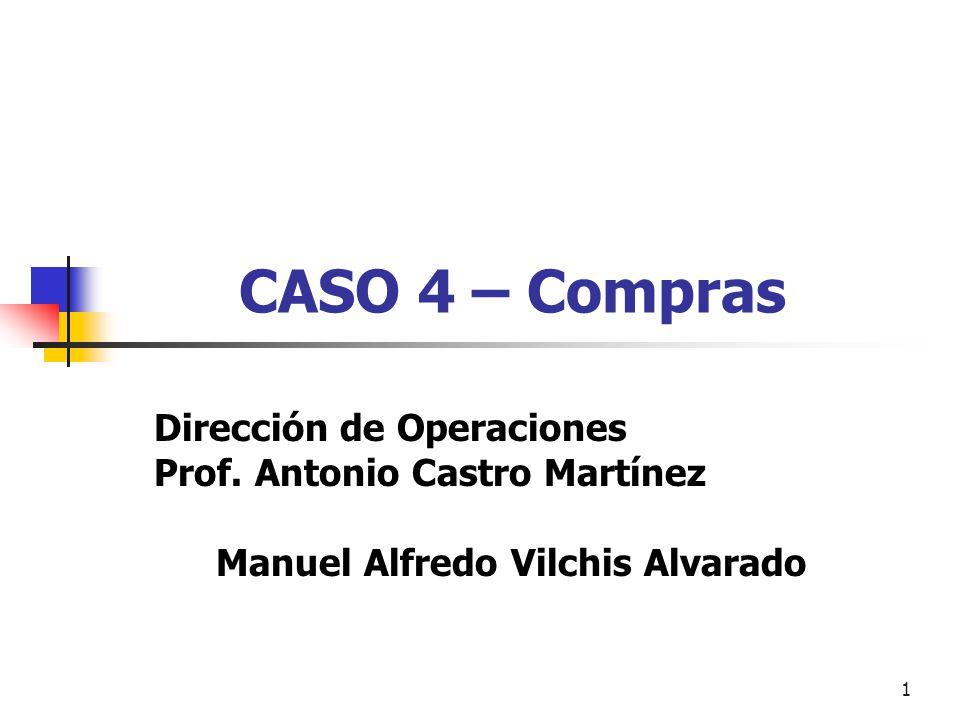 1 CASO 4 – Compras Dirección de Operaciones Prof. Antonio Castro Martínez Manuel Alfredo Vilchis Alvarado