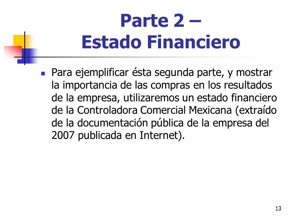 13 Parte 2 – Estado Financiero Para ejemplificar ésta segunda parte, y mostrar la importancia de las compras en los resultados de la empresa, utilizaremos un estado financiero de la Controladora Comercial Mexicana (extraído de la documentación pública de la empresa del 2007 publicada en Internet).