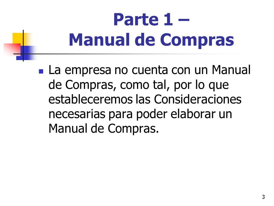 3 Parte 1 – Manual de Compras La empresa no cuenta con un Manual de Compras, como tal, por lo que estableceremos las Consideraciones necesarias para poder elaborar un Manual de Compras.