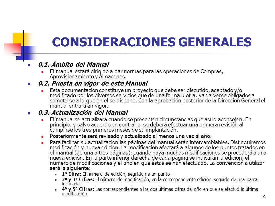 4 CONSIDERACIONES GENERALES 0.1. Ámbito del Manual El manual estará dirigido a dar normas para las operaciones de Compras, Aprovisionamiento y Almacen