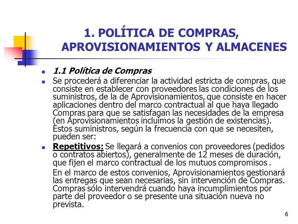 6 1. POLÍTICA DE COMPRAS, APROVISIONAMIENTOS Y ALMACENES 1.1 Política de Compras Se procederá a diferenciar la actividad estricta de compras, que cons