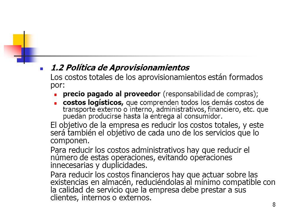 8 1.2 Política de Aprovisionamientos Los costos totales de los aprovisionamientos están formados por: precio pagado al proveedor (responsabilidad de compras); costos logísticos, que comprenden todos los demás costos de transporte externo o interno, administrativos, financiero, etc.