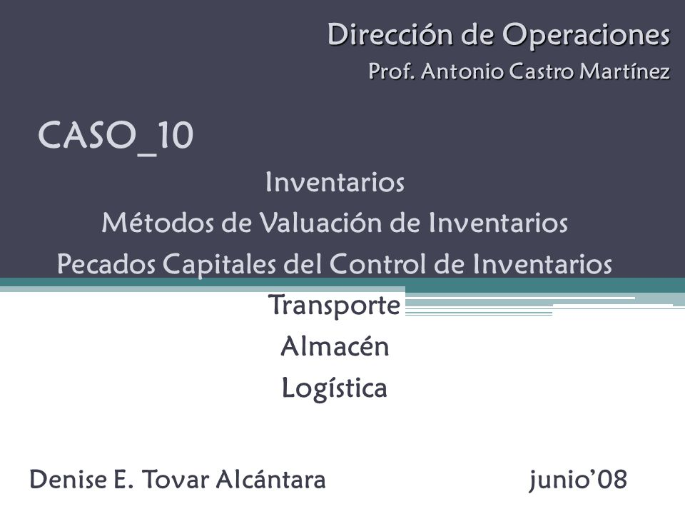 Dirección de Operaciones Prof.Antonio Castro Martínez Denise E.