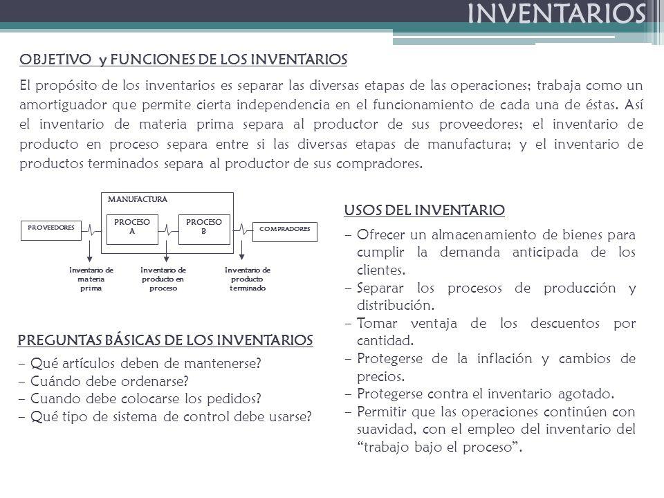 INVENTARIOS OBJETIVO y FUNCIONES DE LOS INVENTARIOS El propósito de los inventarios es separar las diversas etapas de las operaciones; trabaja como un amortiguador que permite cierta independencia en el funcionamiento de cada una de éstas.