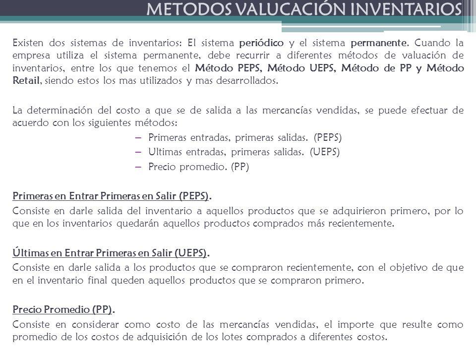 METODOS VALUCACIÓN INVENTARIOS Existen dos sistemas de inventarios: El sistema periódico y el sistema permanente.