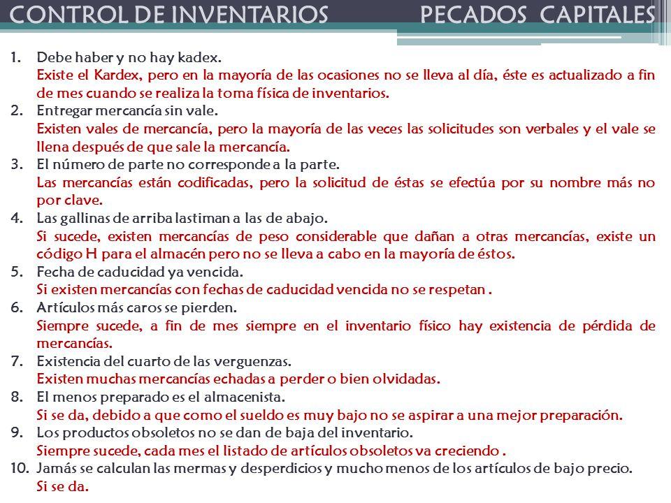 CONTROL DE INVENTARIOS PECADOS CAPITALES 1.Debe haber y no hay kadex.