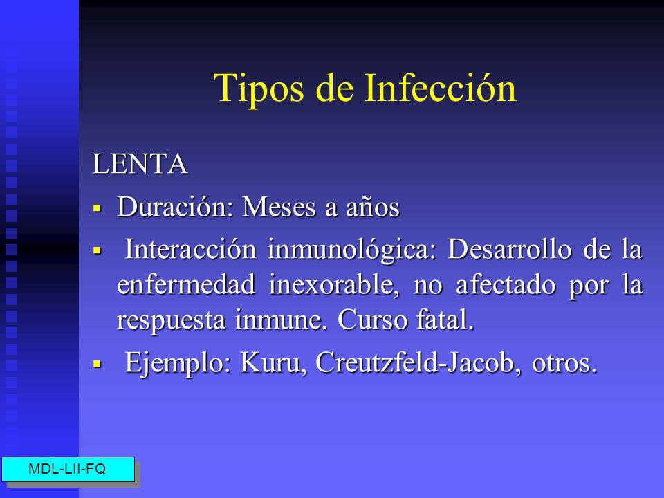 Tipos de Infección LENTA Duración: Meses a años Duración: Meses a años Interacción inmunológica: Desarrollo de la enfermedad inexorable, no afectado por la respuesta inmune.