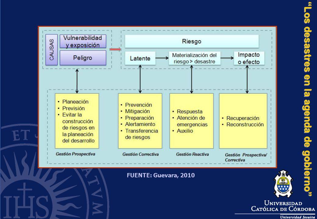 Los desastres en la agenda de gobierno FUENTE: Guevara, 2010