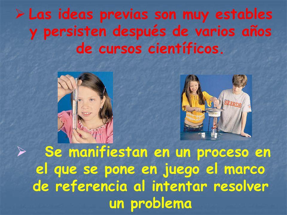 Las ideas previas son muy estables y persisten después de varios años de cursos científicos. S e manifiestan en un proceso en el que se pone en juego