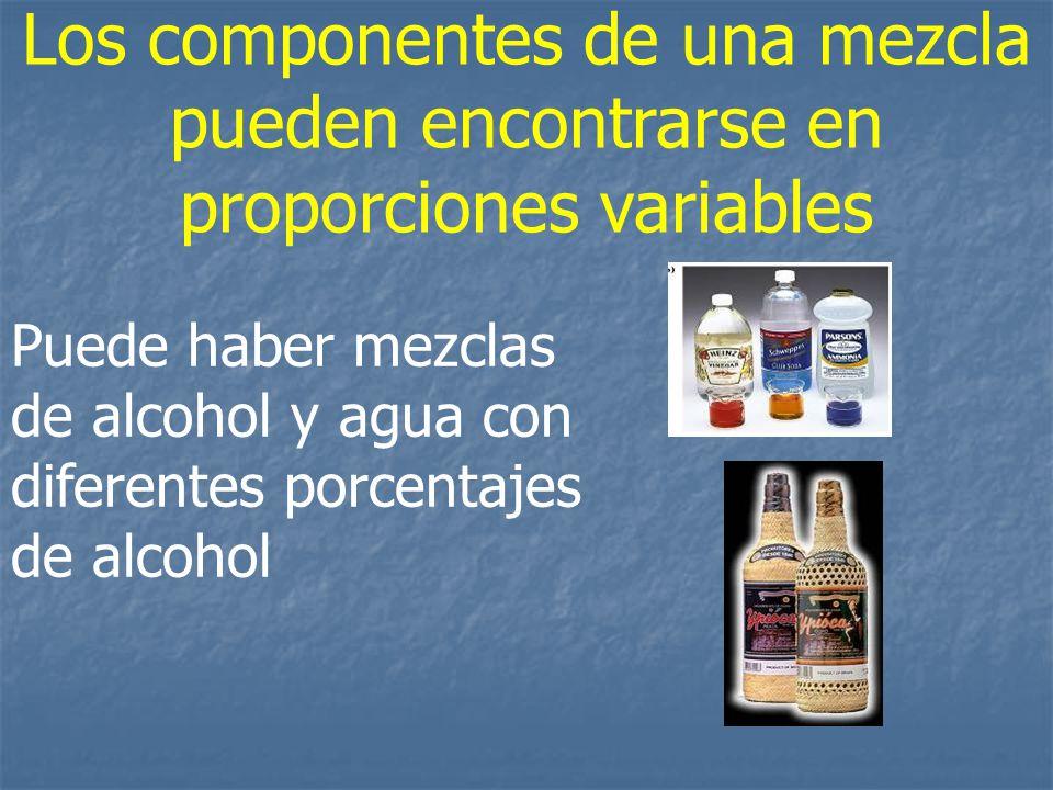 Los componentes de una mezcla pueden encontrarse en proporciones variables Puede haber mezclas de alcohol y agua con diferentes porcentajes de alcohol
