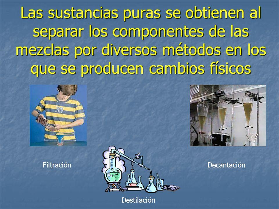 Las sustancias puras se obtienen al separar los componentes de las mezclas por diversos métodos en los que se producen cambios físicos FiltraciónDecan