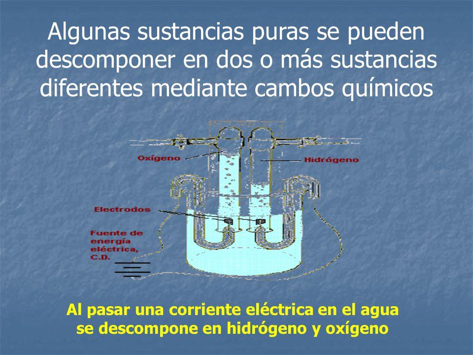 Algunas sustancias puras se pueden descomponer en dos o más sustancias diferentes mediante cambos químicos Al pasar una corriente eléctrica en el agua
