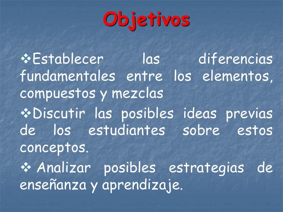 Objetivos Establecer las diferencias fundamentales entre los elementos, compuestos y mezclas Discutir las posibles ideas previas de los estudiantes so