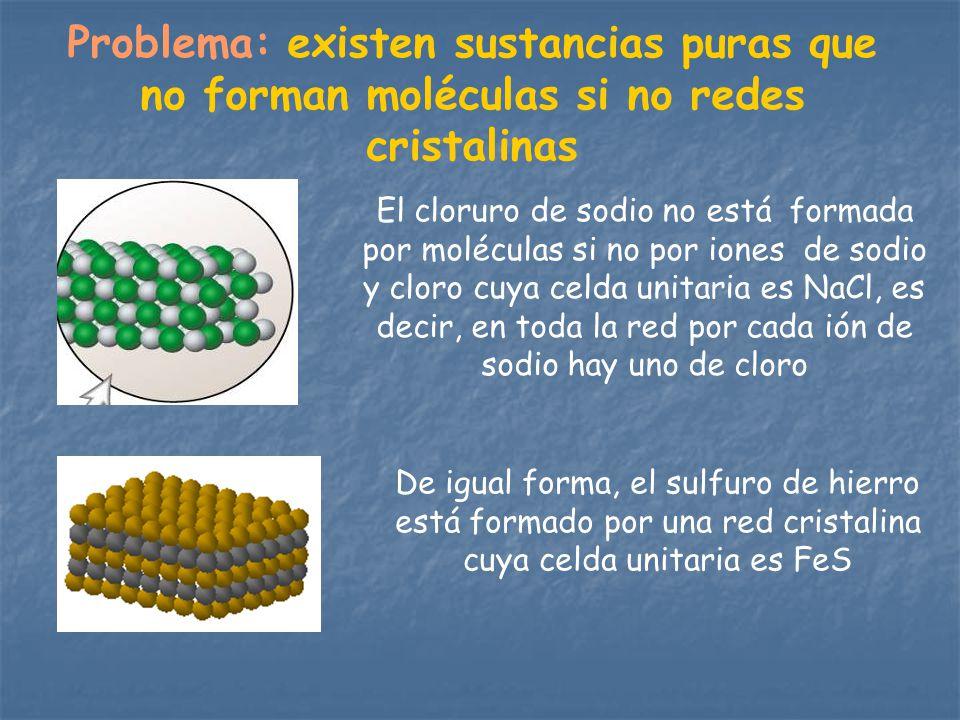 Problema: existen sustancias puras que no forman moléculas si no redes cristalinas El cloruro de sodio no está formada por moléculas si no por iones d