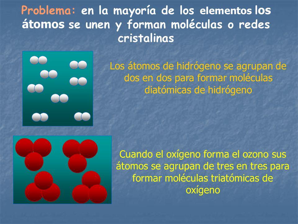 Problema: en la mayoría de los elementos l os átomos se unen y forman moléculas o redes cristalinas Los átomos de hidrógeno se agrupan de dos en dos p