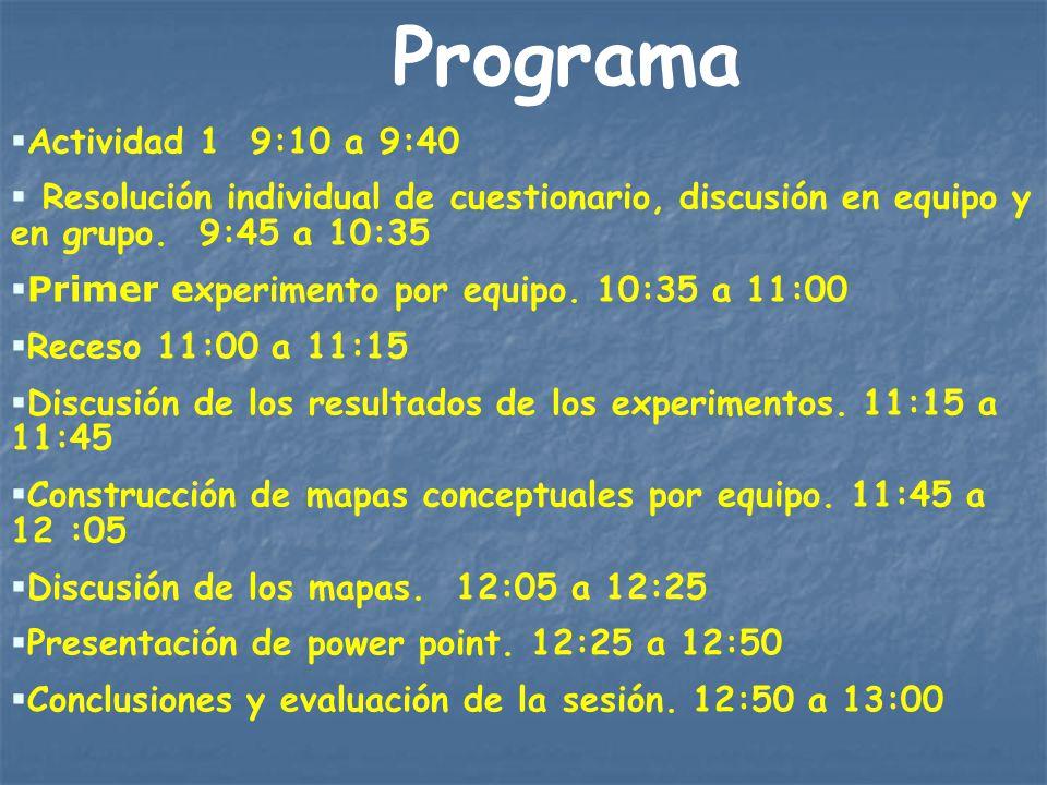 Programa Actividad 1 9:10 a 9:40 Resolución individual de cuestionario, discusión en equipo y en grupo. 9:45 a 10:35 Primer e xperimento por equipo. 1