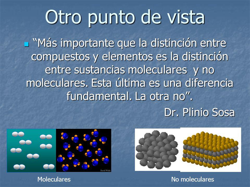 Otro punto de vista Más importante que la distinción entre compuestos y elementos es la distinción entre sustancias moleculares y no moleculares. Esta
